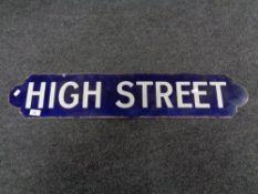 An enamelled sign 'High Street'