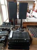An NAD stereo amplifier 3020A together with a Yamaha Natural Sound Compact disc player CD-S300 and