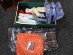 A crate of new and un-used clothing,