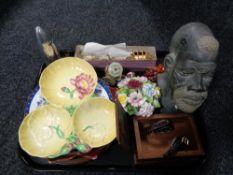 A tray of Carlton ware dish, miniature coronation carriage,