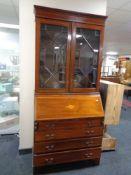 A late nineteenth century mahogany bureau bookcase, height 200 cm x width 90 cm x depth 41 cm.