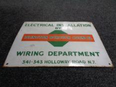 An enamelled sign 'Islington Borough Council Wiring Department'