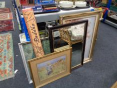 A gilt framed oil on canvas of woodland together with a mirror, colour poster,