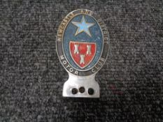 A vintage motor car badge - Newcastle and District motor club