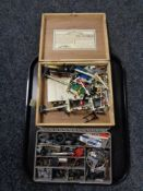 Two boxes containing railway parts and accessories,
