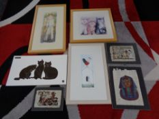 A quantity of pictures and prints - Cats etc