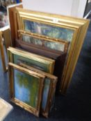 A quantity of pictures and prints, gilt framed oil on canvas depicting lakes,