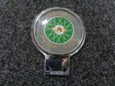 A vintage motor car badge - Welwyn motor club