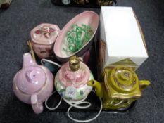 A tray of Maling ware, Ringtons teapot,