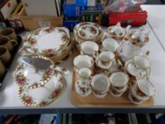 Approximately 54 pieces of Royal Albert Old Country Roses dinner and tea ware