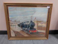 Late Twentieth Century British School : A Steam Train (8431) Pulling Away from a Station Platform,