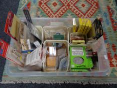 A crate of model making railway model parts and accessories