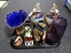 A tray of Winston Churchill Royal Doulton character jug, pair of continental urns and covers,