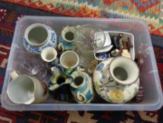 A box of china and glass ceramic vases, crystal vase,