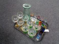 A tray of twentieth century two-tone glass,