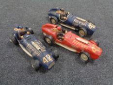 Three painted plaster vintage Ferrari racing cars
