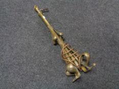 A brass Art Nouveau table lamp