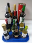A tray of a eleven assorted bottles of red and white wine together with a bottle of Sri Lanka