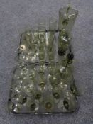 Two trays of Czechoslovakian glass, decanter,