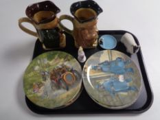 A tray of ten Wedgwood wind in the willows collector's plates, Beswick sheep figure,
