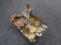 A tray of Cuckoo clock with weights and pendulum, decanter with glasses,