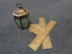 Two brass Art Nouveau door plates together with a brass and glass hanging light