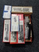 A tray of nine boxed metal castings, train modelling kits, Western precision castings,