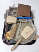 A tray of riding crop, three piece petit point dressing table set,