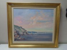 A 20th century gilt framed oil on canvas, coastal landscape,