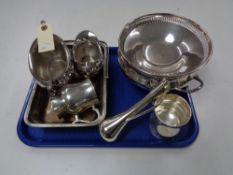 A tray of twentieth century plated wares, Sheffield plate, Milk jug and sugar basin, tankards,