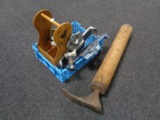 A crate of cobbler's last, two Brannock vintage foot measures,