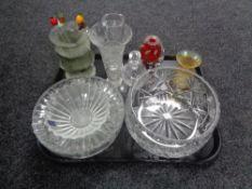 A tray of glass, Dartington crystal bowls,