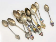 Canadian silver and enamel spoons for Quebec, Montreal, British Columbia,
