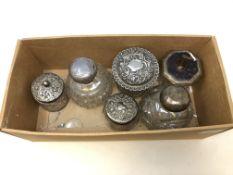 Assorted silver including heavy lidded jar etc.