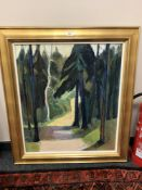 Continental School : Woodland path, oil on canvas, 64 cm x 74 cm, signed Leith Ewens,