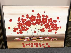 Piero Montanelli : Poppies, oil on canvas, 90 cm by 65 cm, initialed and dated verso.