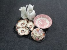 A tray containing Mason's lidded trinket pots, serving dish and side plates,
