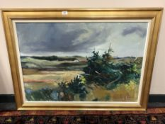 Continental School : rural landscape, oil on canvas, 95 cm x 65 cm, indistinctly signed, dated '67,