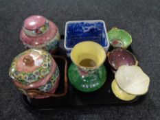 A tray of seven pieces of Maling, ginger jars, vases,
