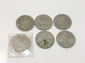 Six £5 coins