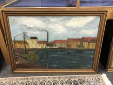 Continental school : Harbour scene, oil on canvas, 94 cm 63 cm, signed S.Lund, framed.