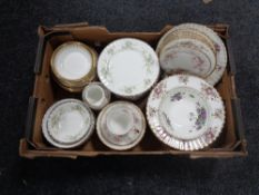 A box containing a quantity of miscellaneous Royal Albert and Paragon bone china tea and dinner
