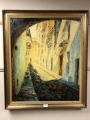 Continental School : Cobbled Street, oil on canvas, 58 cm x 70 cm, Signed Delgado Satas, framed.