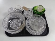 A tray containing assorted glassware, glass paperweights, 1970s green glass bowl.