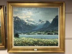 Continental School : Mountain lake scene, oil on canvas, 69 cm x 59 cm, framed.