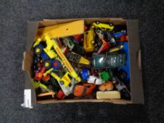 A box containing mid 20th century and later die cast vehicles to include Corgi, Matchbox,