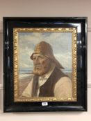 Continental School : Portrait of a fisherman, oil on canvas, 38 cm x 46 cm, indistinctly signed,