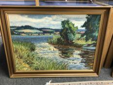 Continental school : Ducks on a river, oil on canvas, 90 cm x 64 cm, framed.