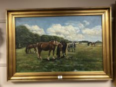 Continental School : Horse in a field, oil on canvas, 80 cm x 50 cm, indistinctly signed, framed.