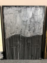 Piero Montanelli : Textured two tone abstract study (silver), oil on canvas, 90 cm by 65 cm,